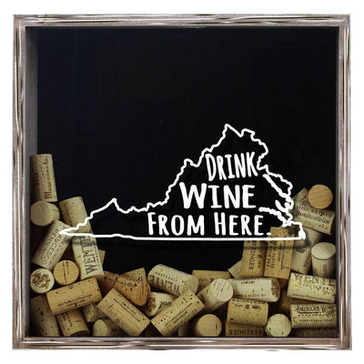 Torched Products Shadow Box Gray Virginia Drink Wine From Here Wine Cork Shadow Box (795793457269)