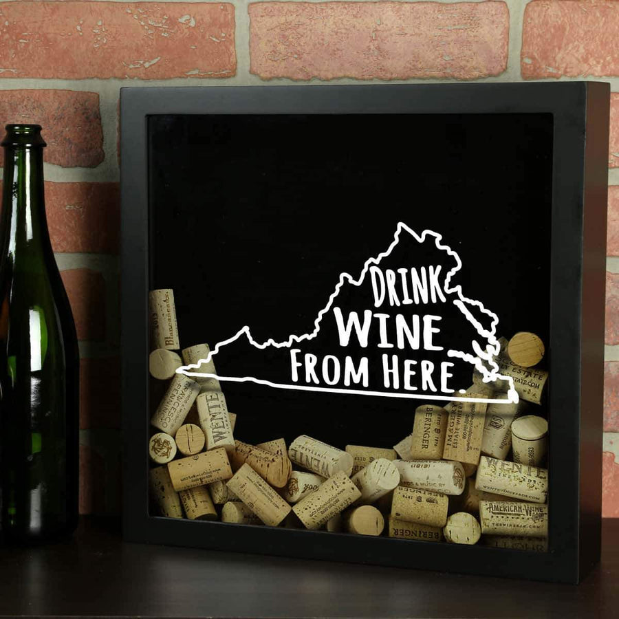 Torched Products Shadow Box Black Virginia Drink Wine From Here Wine Cork Shadow Box (795793457269)