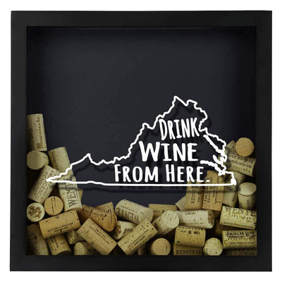 Torched Products Shadow Box Virginia Drink Wine From Here Wine Cork Shadow Box (795793457269)