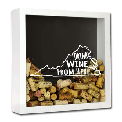 Torched Products Shadow Box White Virginia Drink Wine From Here Wine Cork Shadow Box (795793457269)