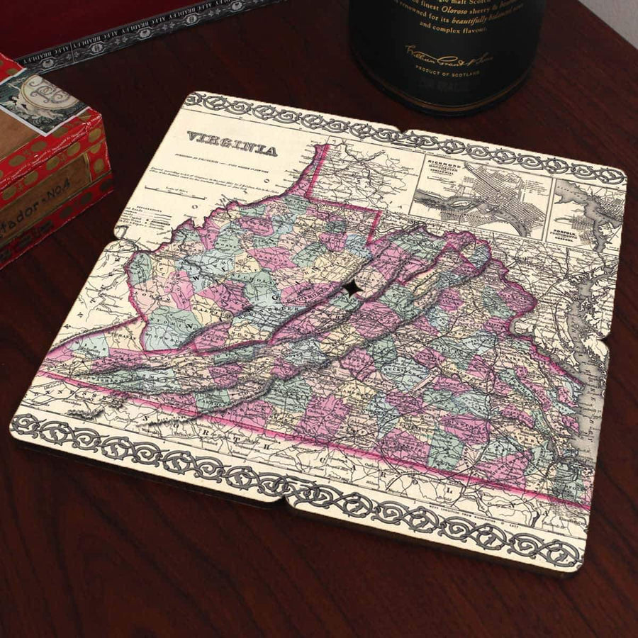Torched Products Coasters Virginia Old World Map Coaster