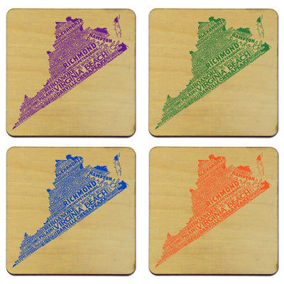 Torched Products Coasters Virginia Typography Coaster (787846692981)