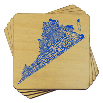 Torched Products Coasters Virginia Typography Coaster