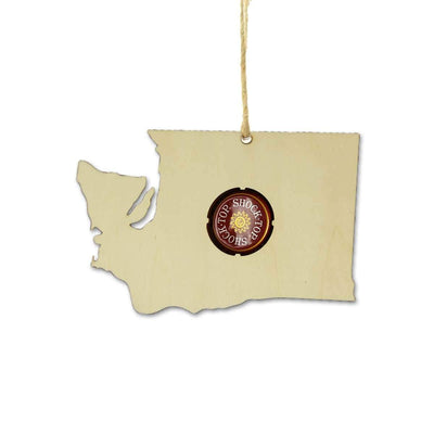 Torched Products Ornaments Washington Beer Cap Map Ornaments