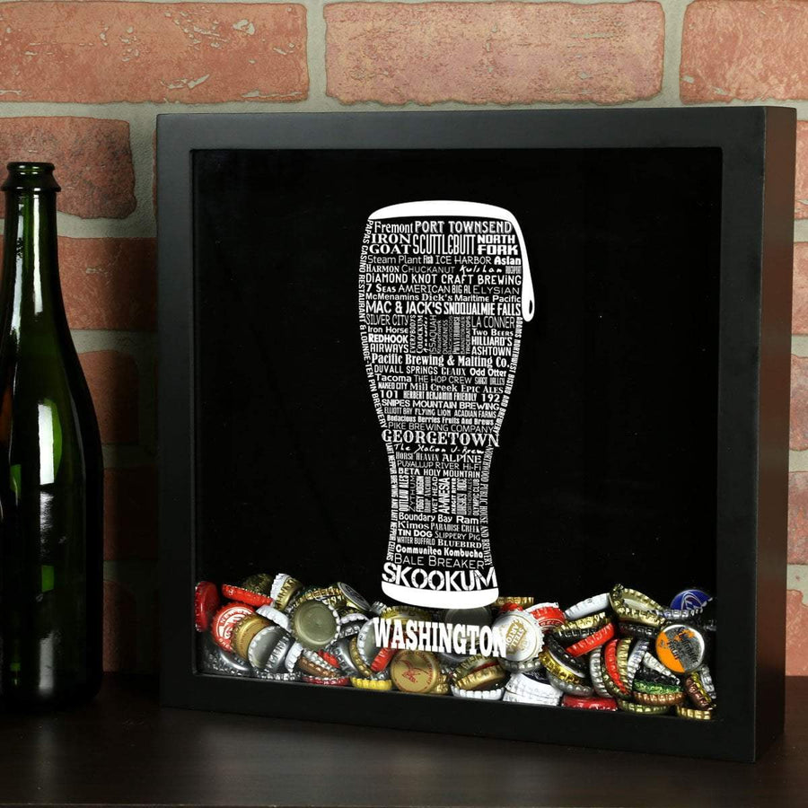 Torched Products Shadow Box Black Washington Beer Typography Shadow Box