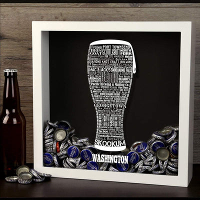 Torched Products Shadow Box Washington Beer Typography Shadow Box