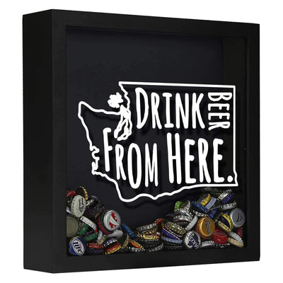 Torched Products Shadow Box Black Washington Drink Beer From Here Beer Cap Shadow Box (781185810549)