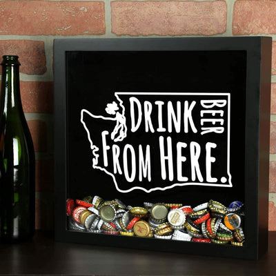 Torched Products Shadow Box Washington Drink Beer From Here Beer Cap Shadow Box (781185810549)