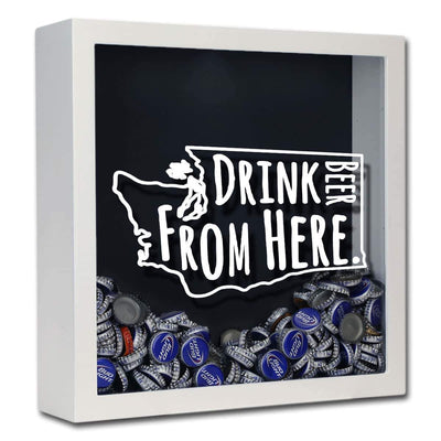 Torched Products Shadow Box White Washington Drink Beer From Here Beer Cap Shadow Box