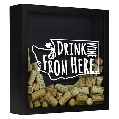 Torched Products Shadow Box Black Washington Drink Wine From Here Wine Cork Shadow Box (795794931829)