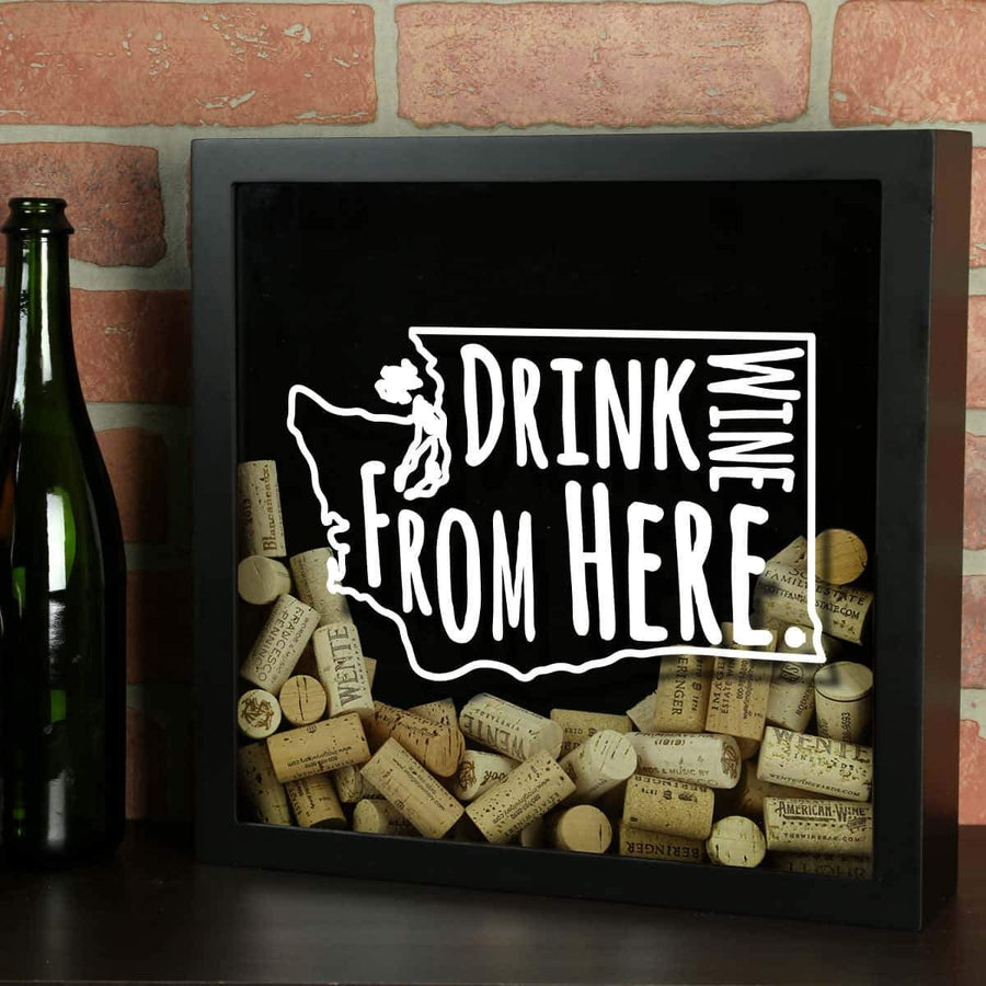 Torched Products Shadow Box Black Washington Drink Wine From Here Wine Cork Shadow Box