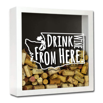 Torched Products Shadow Box White Washington Drink Wine From Here Wine Cork Shadow Box (795794931829)