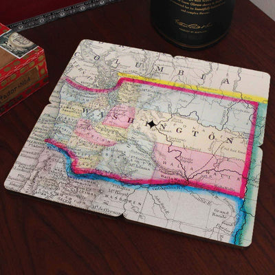 Torched Products Coasters Washington Old World Map Coaster (790603169909)