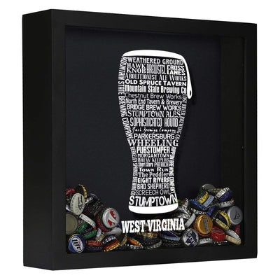 Torched Products Shadow Box Black West Virginia Beer Typography Shadow Box
