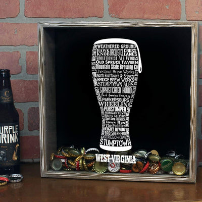 Torched Products Shadow Box West Virginia Beer Typography Shadow Box