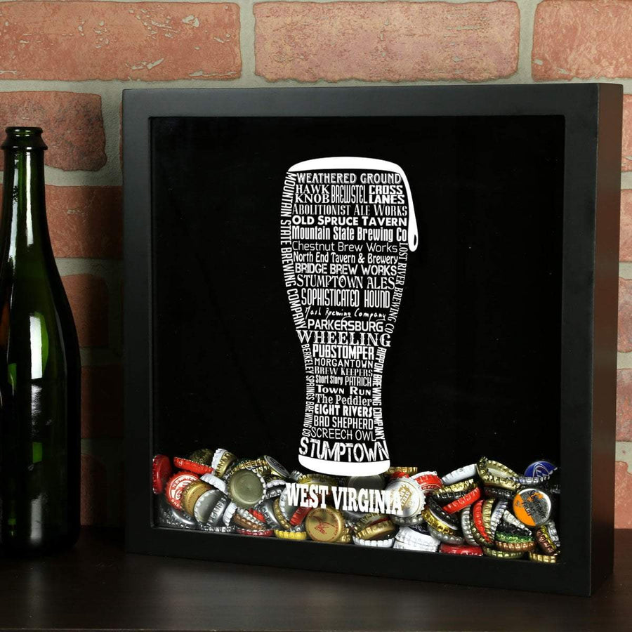 Torched Products Shadow Box Black West Virginia Beer Typography Shadow Box (779428692085)