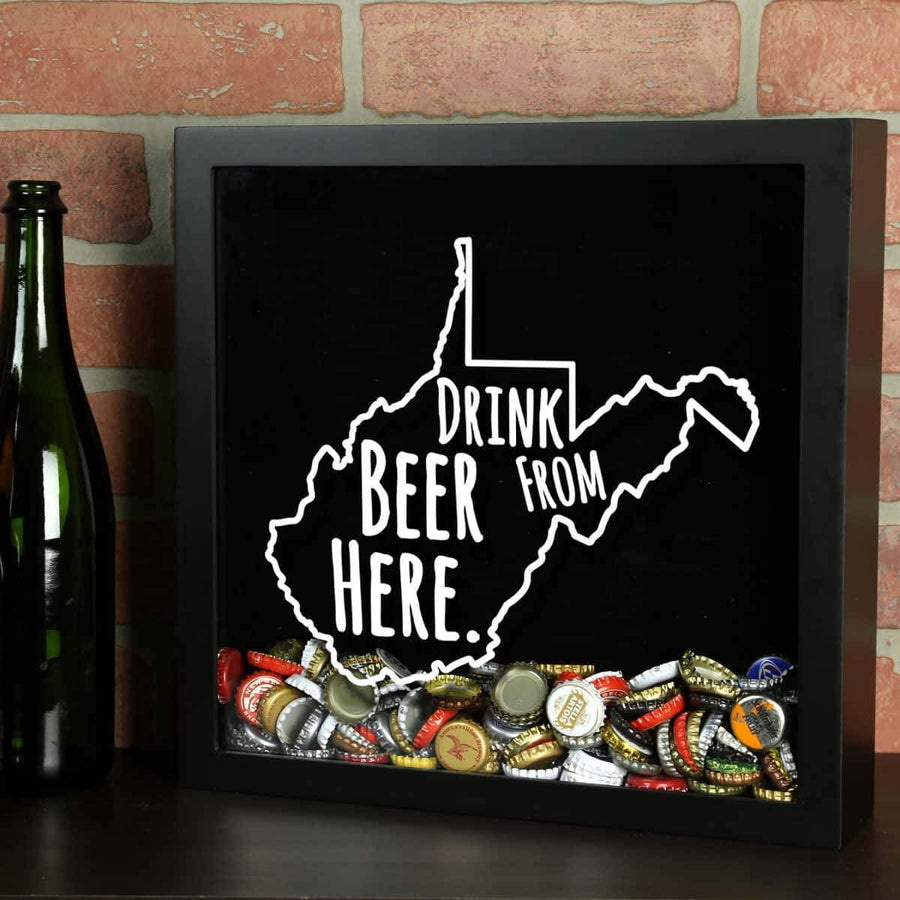 Torched Products Shadow Box Black West Virginia Drink Beer From Here Beer Cap Shadow Box (781186105461)