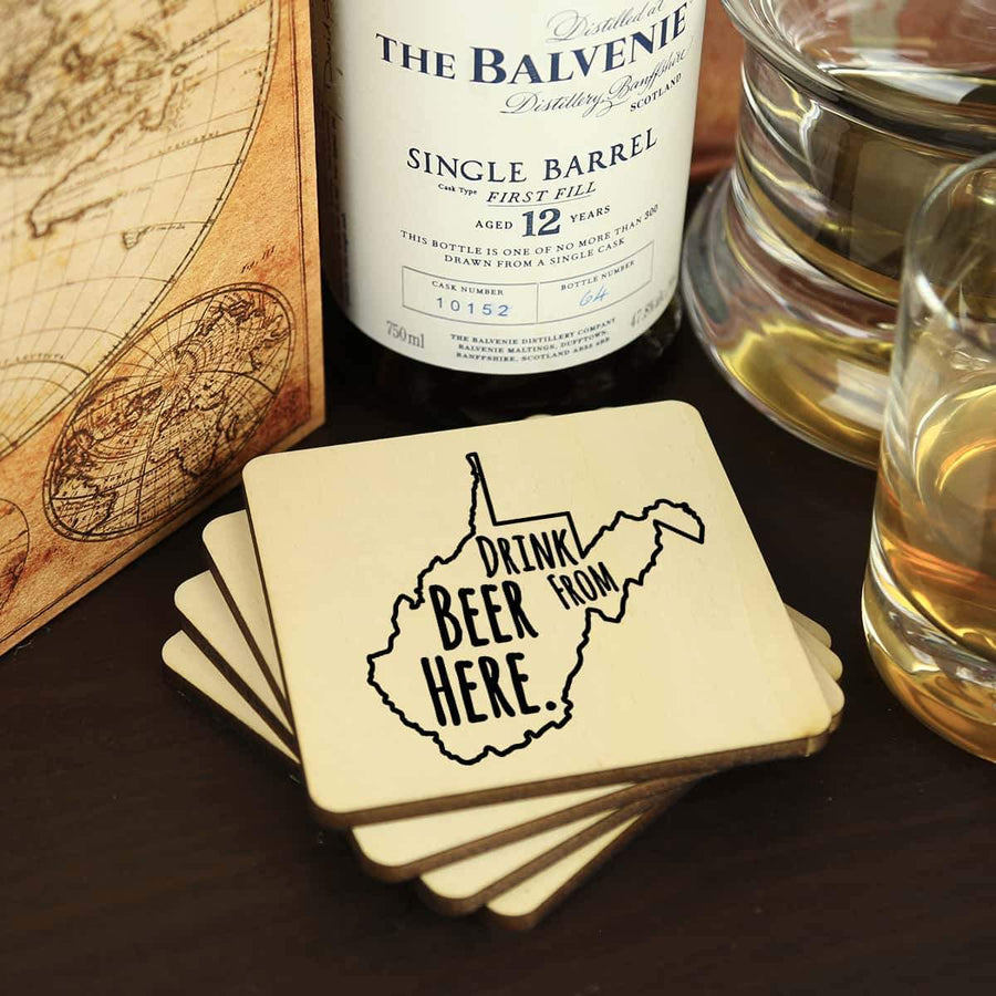 Torched Products Coasters West Virginia Drink Beer From Here Coasters (781460963445)