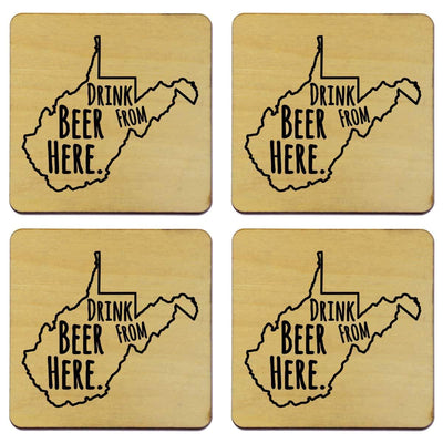 Torched Products Coasters West Virginia Drink Beer From Here Coasters