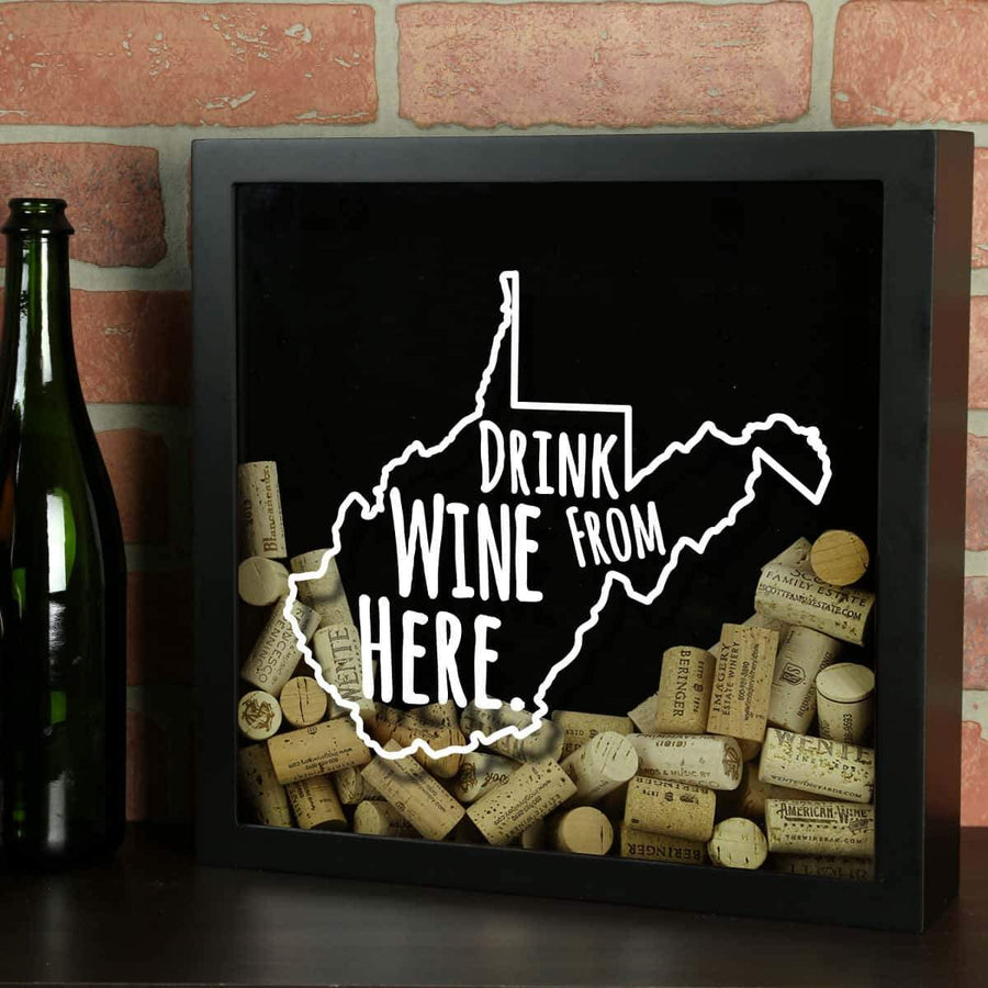Torched Products Shadow Box Black West Virginia Drink Wine From Here Wine Cork Shadow Box (795795718261)
