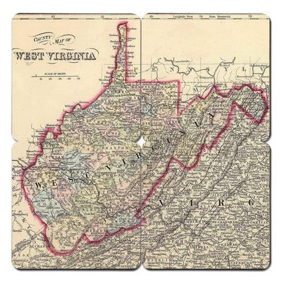 Torched Products Coasters West Virginia Old World Map Coaster