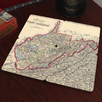Torched Products Coasters West Virginia Old World Map Coaster (790603759733)