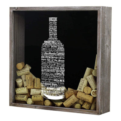Torched Products Shadow Box Gray Wine Typography Wine Cork Shadow Box