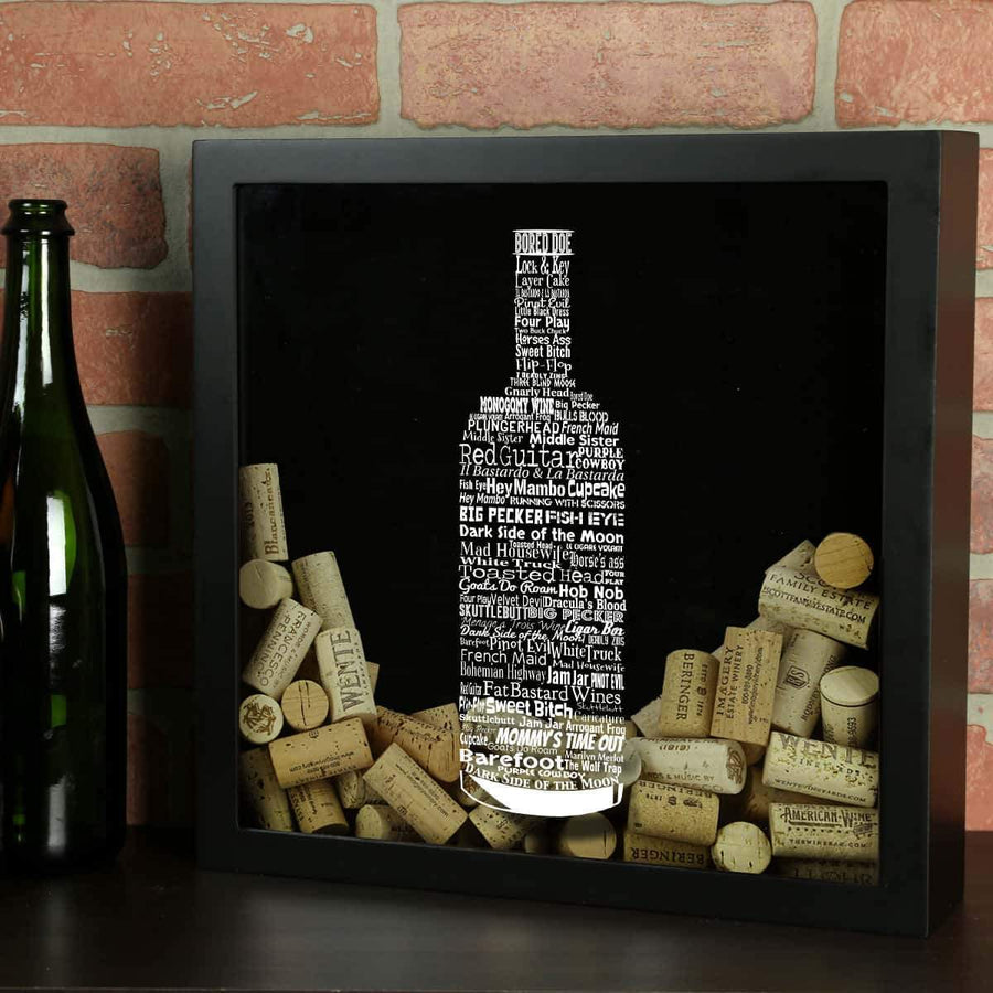 Torched Products Shadow Box Black Wine Typography Wine Cork Shadow Box