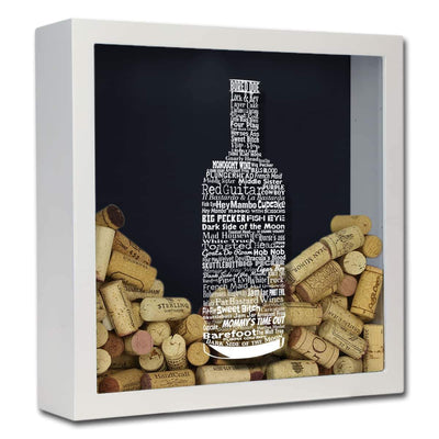 Torched Products Shadow Box White Wine Typography Wine Cork Shadow Box