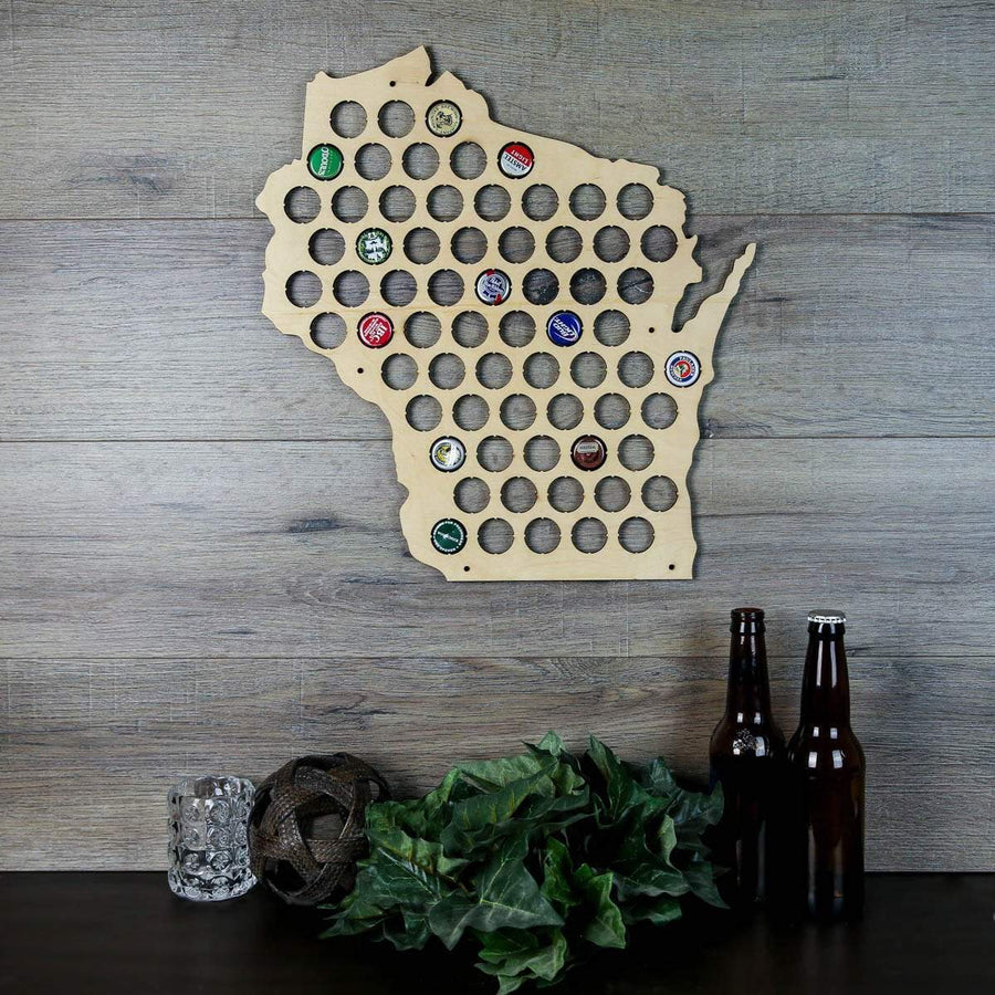 Torched Products Beer Bottle Cap Holder Wisconsin Beer Cap Map