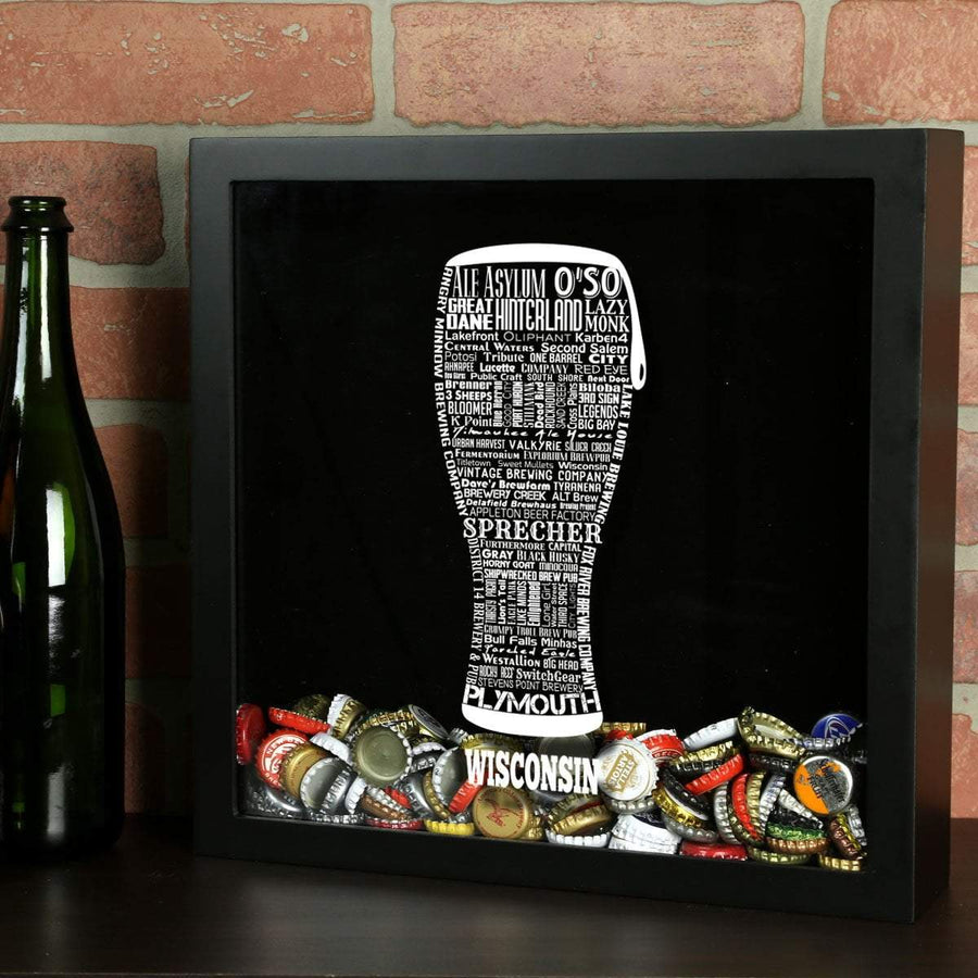 Torched Products Shadow Box Black Wisconsin Beer Typography Shadow Box