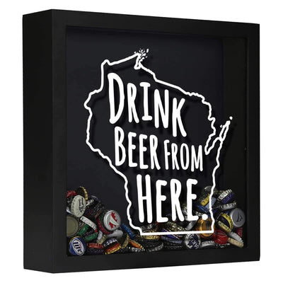 Torched Products Shadow Box Black Wisconsin Drink Beer From Here Beer Cap Shadow Box