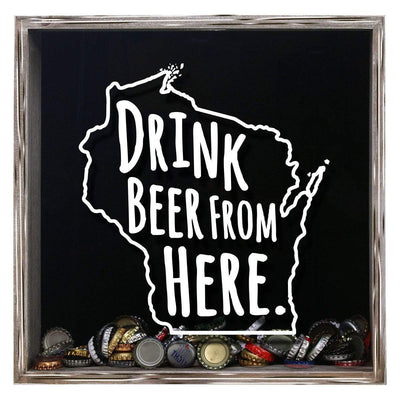Torched Products Shadow Box Gray Wisconsin Drink Beer From Here Beer Cap Shadow Box (781186007157)