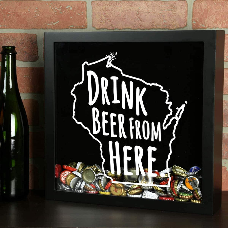 Torched Products Shadow Box Black Wisconsin Drink Beer From Here Beer Cap Shadow Box (781186007157)
