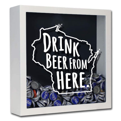 Torched Products Shadow Box White Wisconsin Drink Beer From Here Beer Cap Shadow Box (781186007157)