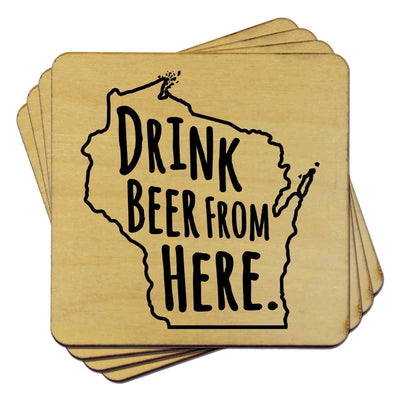 Torched Products Coasters Wisconsin Drink Beer From Here Coasters (781461520501)