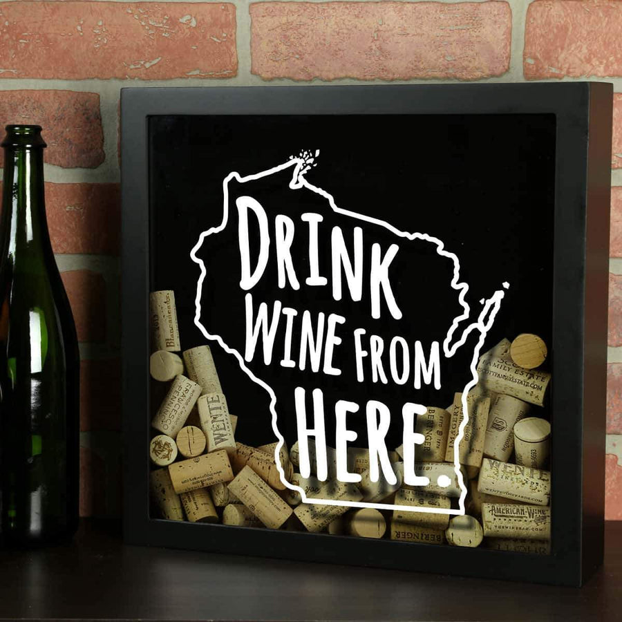 Torched Products Shadow Box Black Wisconsin Drink Wine From Here Wine Cork Shadow Box (795796308085)