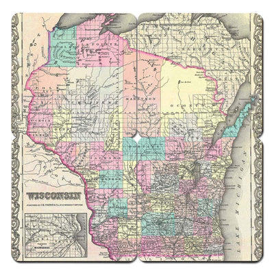 Torched Products Coasters Wisconsin Old World Map Coaster (790603235445)