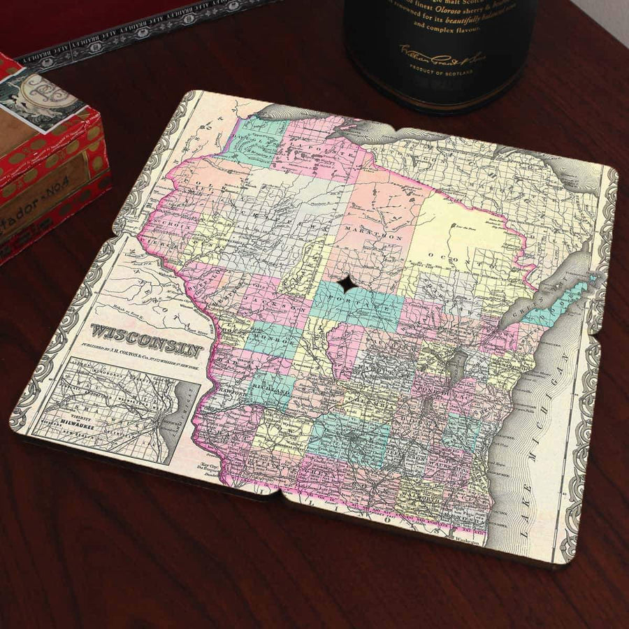 Torched Products Coasters Wisconsin Old World Map Coaster
