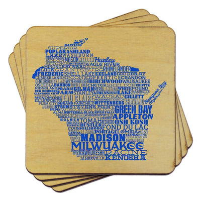Torched Products Coasters Wisconsin Typography Coaster