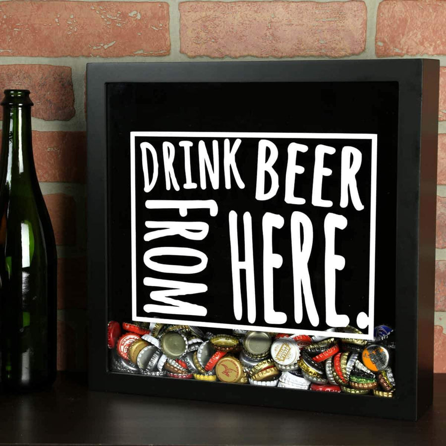 Torched Products Shadow Box Black Wyoming Drink Beer From Here Beer Cap Shadow Box (781186203765)
