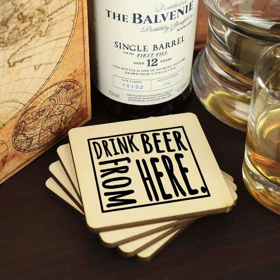 Torched Products Coasters Wyoming Drink Beer From Here Coasters (781461586037)