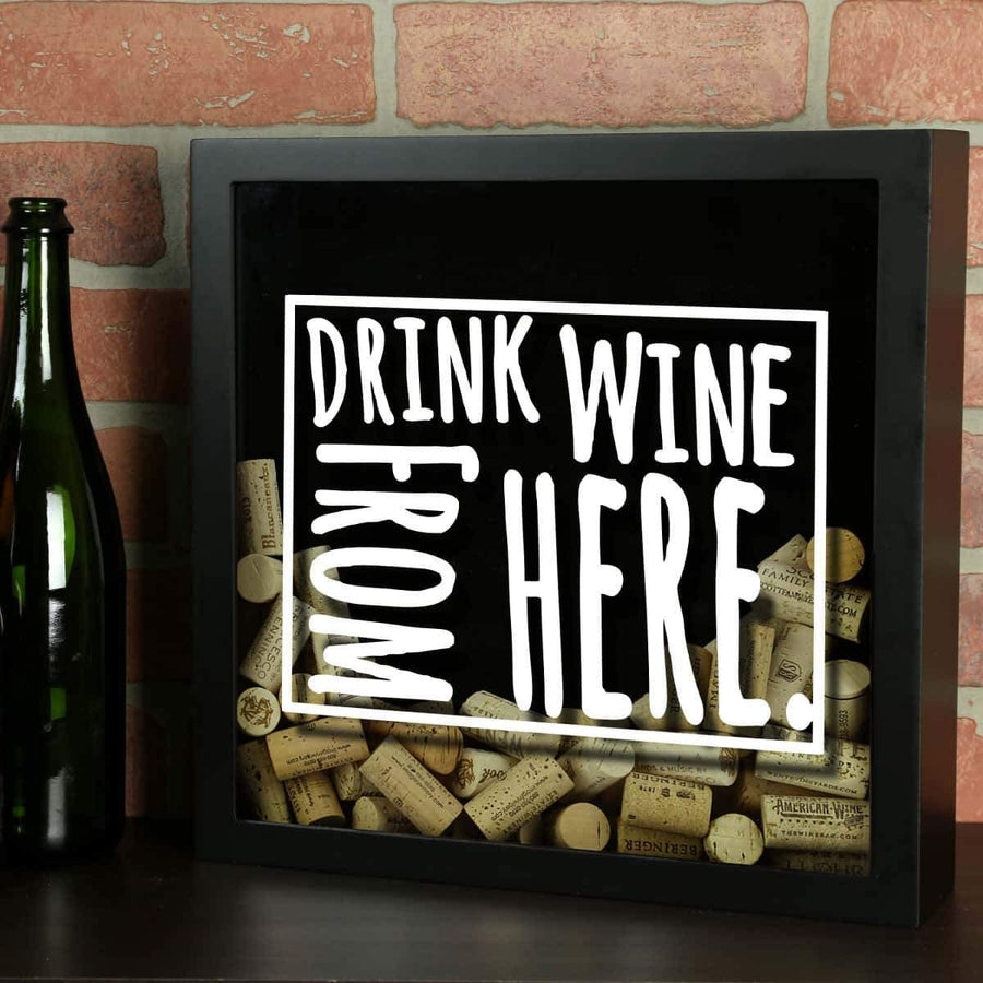 Torched Products Shadow Box Black Wyoming Drink Wine From Here Wine Cork Shadow Box (795797094517)