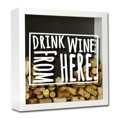 Torched Products Shadow Box White Wyoming Drink Wine From Here Wine Cork Shadow Box
