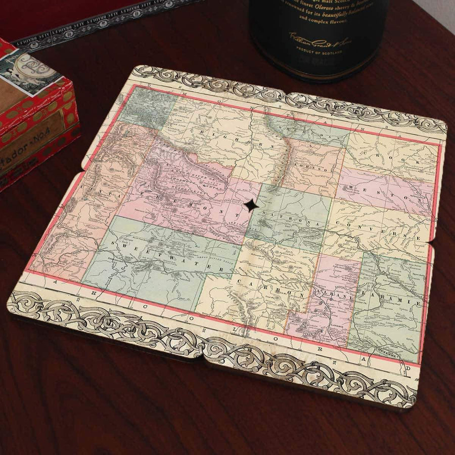 Torched Products Coasters Wyoming Old World Map Coaster