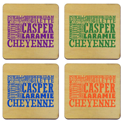 Torched Products Coasters Wyoming Typography Coaster
