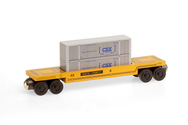 Whittle Shortline Railroad CSX Gray Doublestack Car Wooden Toy Train