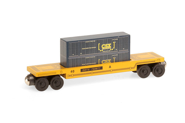 Whittle Shortline Railroad CSX Blue Doublestack Wooden Toy Train