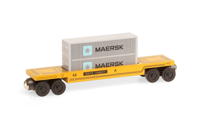 Whittle Shortline Railroad Maersk Doublestack Car Wooden Toy Train
