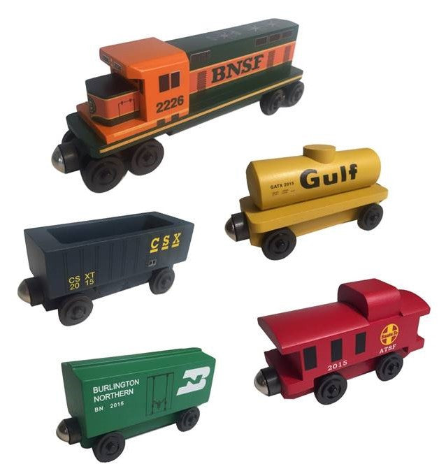 Whittle Shortline Railroad BNSF GP-38 5pc. Diesel Engine Set Wooden Toy Train